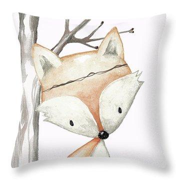 Woodland Fox Boho Baby Nursery Decor Throw Pillow