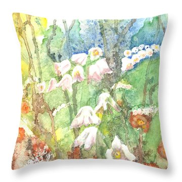 Throw Pillow featuring the painting Woodland Garden by Renate Nadi Wesley