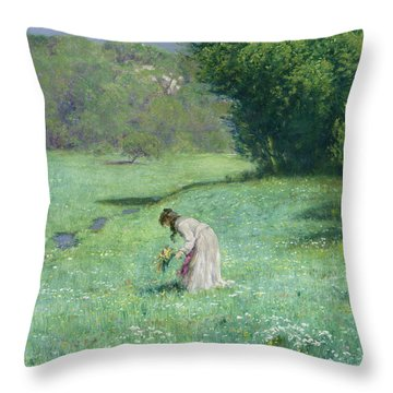 Woodland Meadow Throw Pillow by Hans Thoma