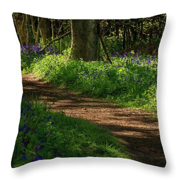 Woodland Path Lined By Bluebells Throw Pillow