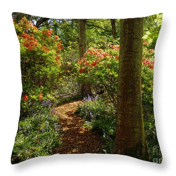 Woodland Path With Rhododendrons Throw Pillow