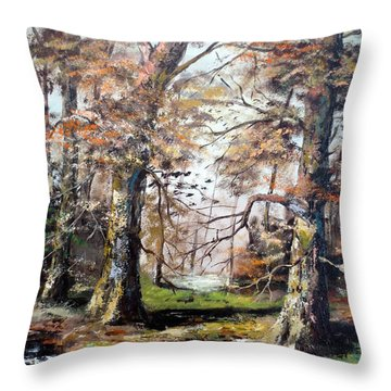 Throw Pillow featuring the painting Woodland Pond  by Lee Piper