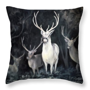 Throw Pillow featuring the painting Woodland Spirits by Nancy Bradley