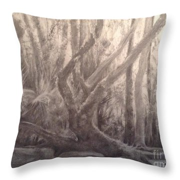 Throw Pillow featuring the painting Woodland Statuary by Mary Lynne Powers