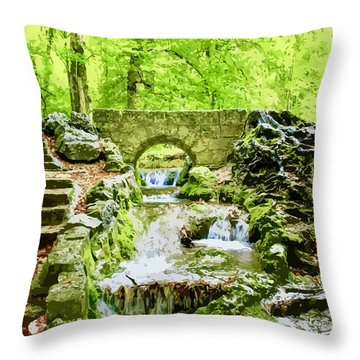Woodland Steps And Stream Throw Pillow