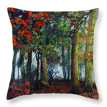 Throw Pillow featuring the painting Woodland Trail by Hailey E Herrera