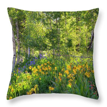 Throw Pillow featuring the photograph Woodland Wildflowers by Tim Reaves