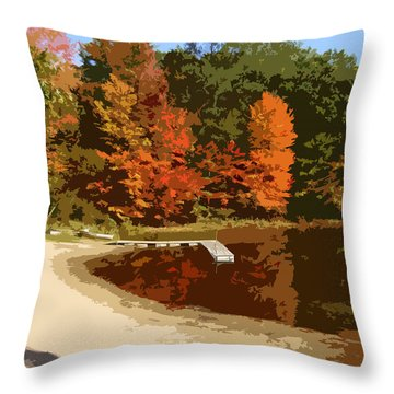 Woodlands On The Lake Throw Pillow by Michelle Calkins