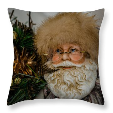 Woodlands Santa Throw Pillow