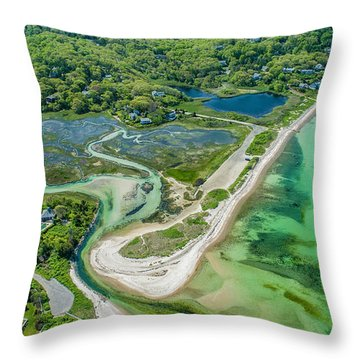 Throw Pillow featuring the photograph Woodneck Beach At 400 Feet by Michael Hughes