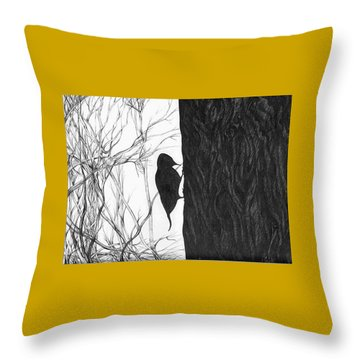 Throw Pillow featuring the drawing Woodpecker by Anna  Duyunova