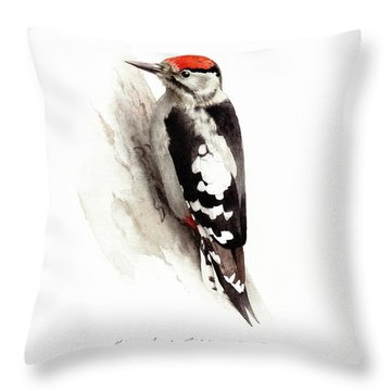 Woodpecker Throw Pillow