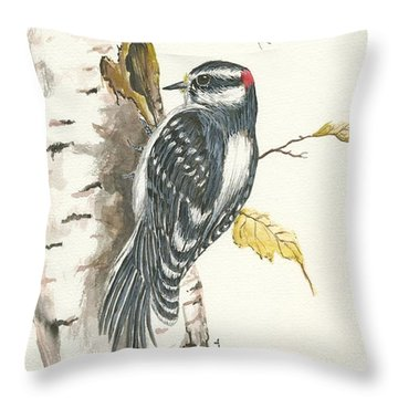 Throw Pillow featuring the painting Woodpecker by Darren Cannell