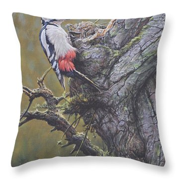 Throw Pillow featuring the painting Woodpecker On Tree by Alan M Hunt