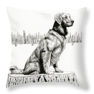 Woods Dog Throw Pillow