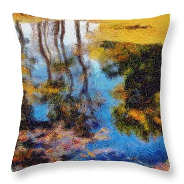 Woods In The Pond Throw Pillow