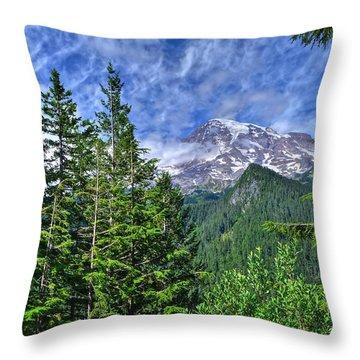 Woods Surrounding Mt. Rainier Throw Pillow