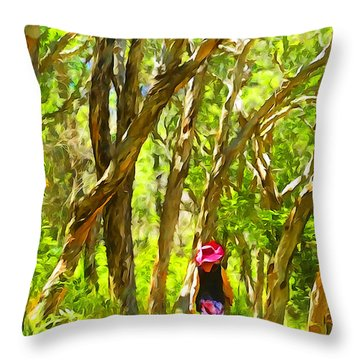 Woods Walk Throw Pillow by Dennis Cox WorldViews