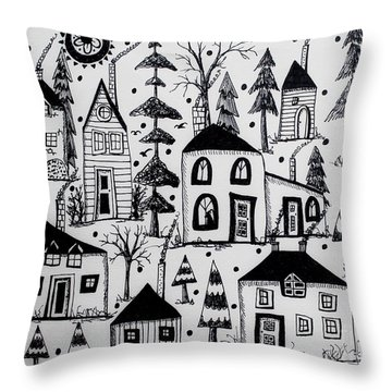 Woodsy Village Throw Pillow