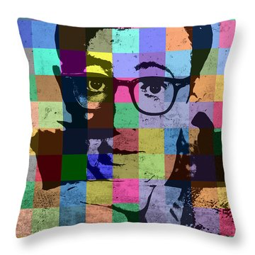 Woody Allen Director Hollywood Pop Art Patchwork Portrait Pops Of Color Throw Pillow