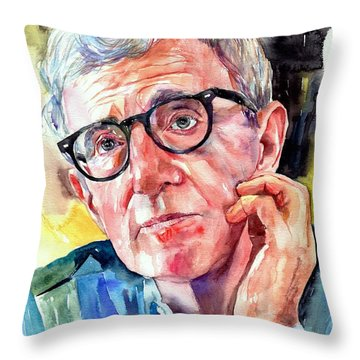 Woody Allen Portrait Painting Throw Pillow