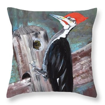 Throw Pillow featuring the painting Woody - The Pileated Woodpecker by Jan Dappen