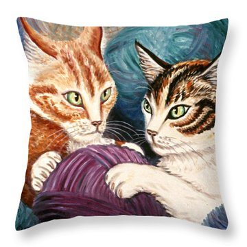 Wooly Rollick Throw Pillow by Linda Mears