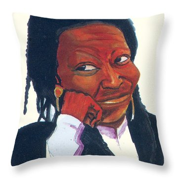 Throw Pillow featuring the painting Woopy Goldberg by Emmanuel Baliyanga