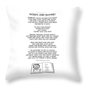 Throw Pillow featuring the drawing Words And Rhymes by John Haldane