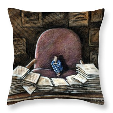 Throw Pillow featuring the drawing Work Anxiety by Valerie White