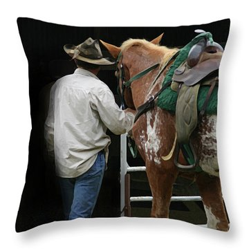 Work Day Ends Throw Pillow by Kim Henderson