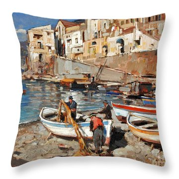 Work Never Ends For Amalfi Fishermen Throw Pillow