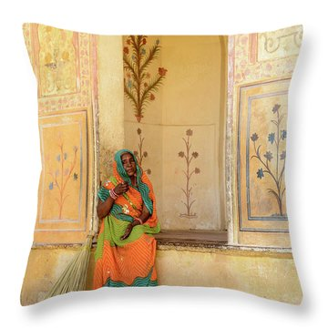 Workers In Amer Fort 01 Throw Pillow