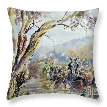 Working Clydesdale Pair, Australian Landscape. Throw Pillow