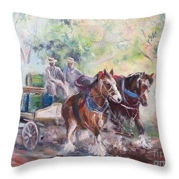 Working Clydesdale Pair, Victoria Breweries. Throw Pillow
