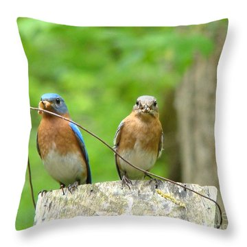 Working Couple Throw Pillow