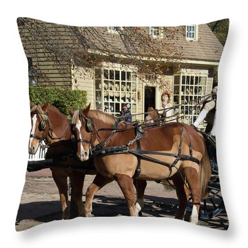 Working Horses In Williamsburg Throw Pillow