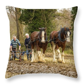 Working Horses Throw Pillow by Roy McPeak