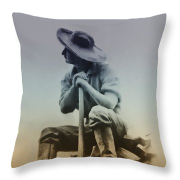 Working Man Throw Pillow by Bill Cannon