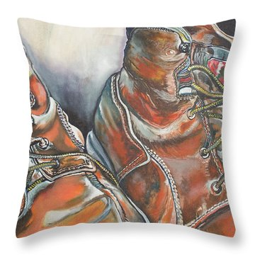 Working Man's Boots Throw Pillow