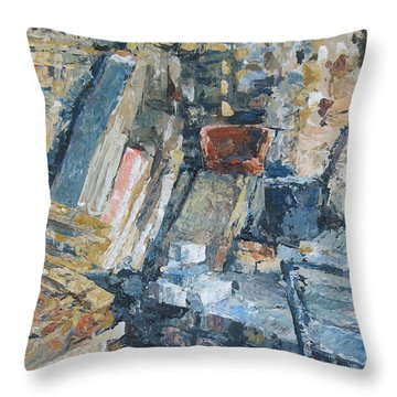 Working To Abstraction Throw Pillow by Connie Schaertl