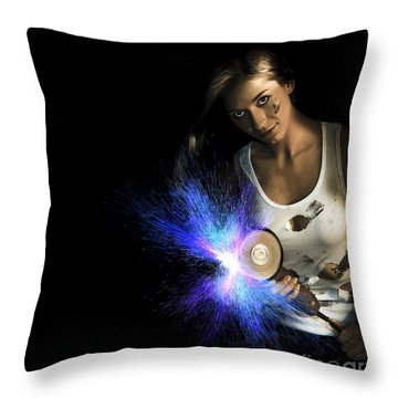 Working Woman With Industrial Tools Throw Pillow