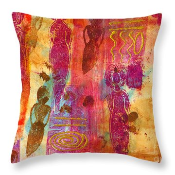 Throw Pillow featuring the painting Working Women Abound by Angela L Walker