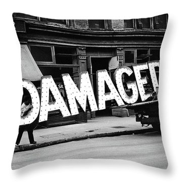 Workmen Hauling Damaged Sign Walker Evans Photo New York City 1930 Color Added 2008 Throw Pillow