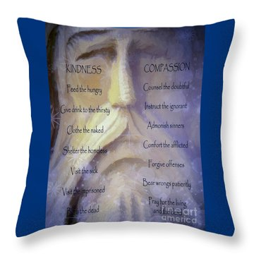 Works Of Mercy Throw Pillow