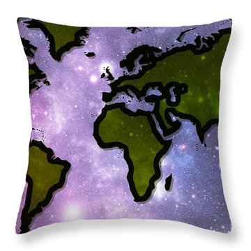 World In Space Throw Pillow