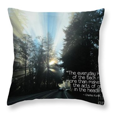 Throw Pillow featuring the photograph World Kindness Day by Peggy Hughes