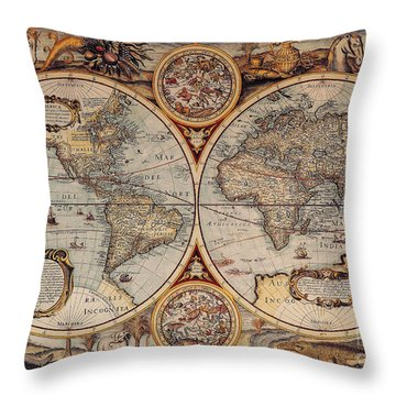 World Map 1636 Throw Pillow