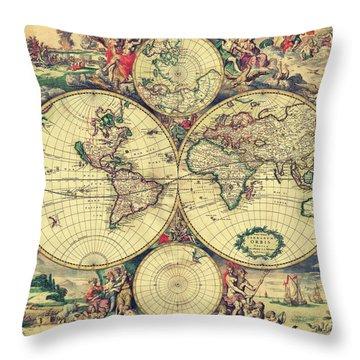 World Map 1689 Throw Pillow