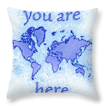 World Map Airy You Are Here In Blue And White Throw Pillow